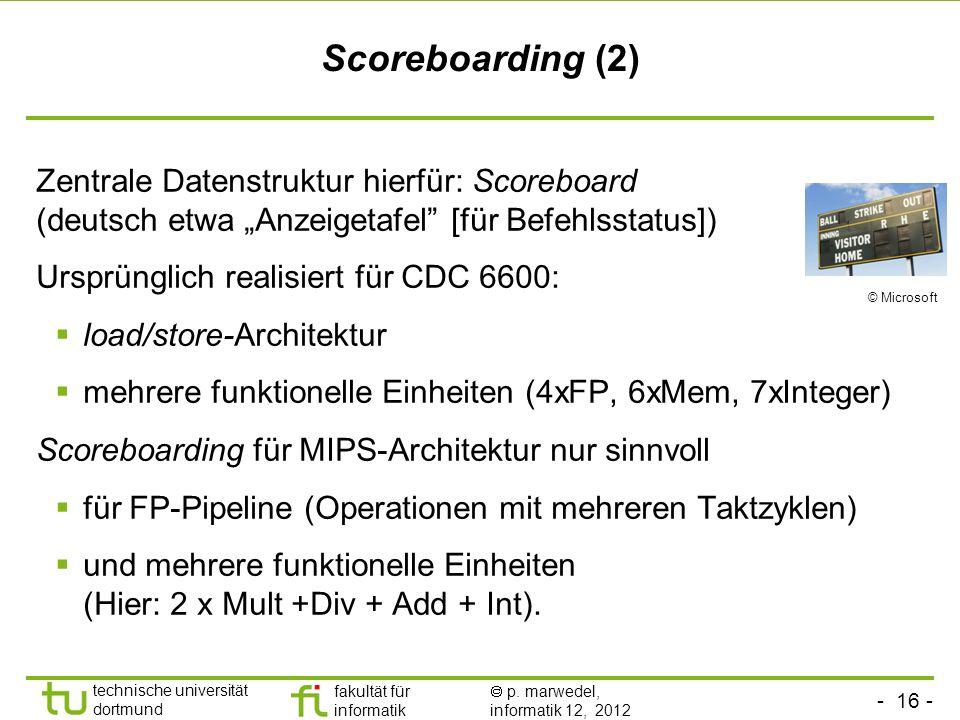 """Scoreboarding (2) Zentrale Datenstruktur hierfür: Scoreboard (deutsch etwa """"Anzeigetafel [für Befehlsstatus])"""